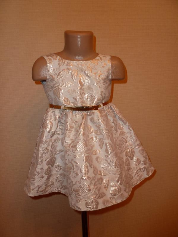 4b39d9d56e53c82 Ff нарядное золотистое парчевое платье на 2-3 года F&F, цена - 130 ...