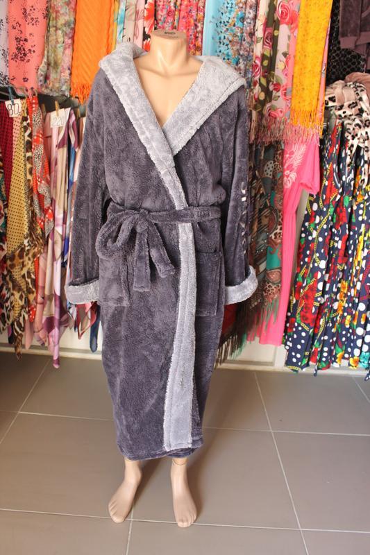 e3ed040c969f Длинный махровый мужской халат (тёмно-серый со светло-серым) вышивка sport1  фото ...