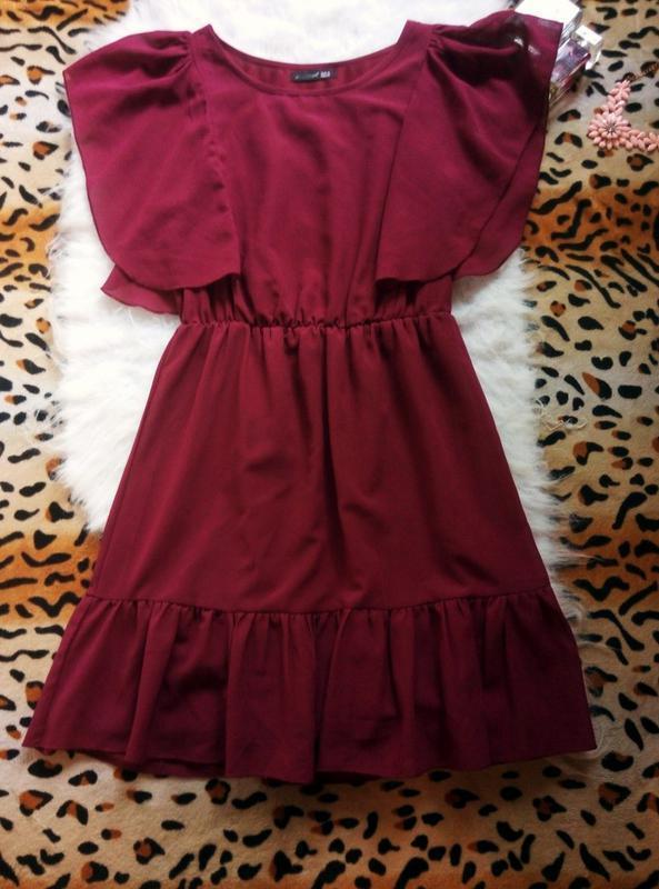 07f521cadd0 Бордовое платье с воланами марсала рюши шифон пышное фиолетовое1 ...