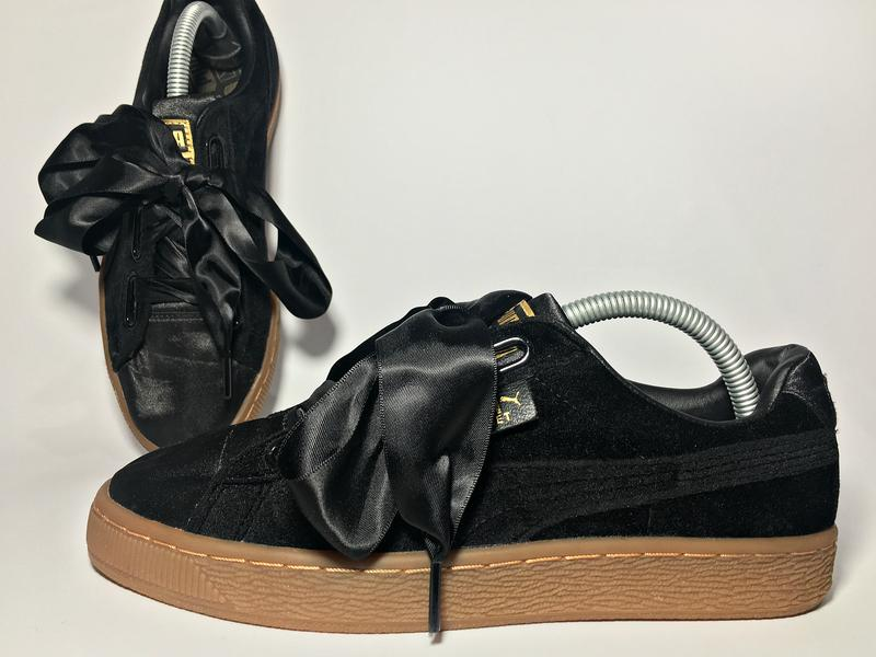Кроссовки puma womens black gum velvet basket heart trainers rihanna1 ... 01936cf9d2341
