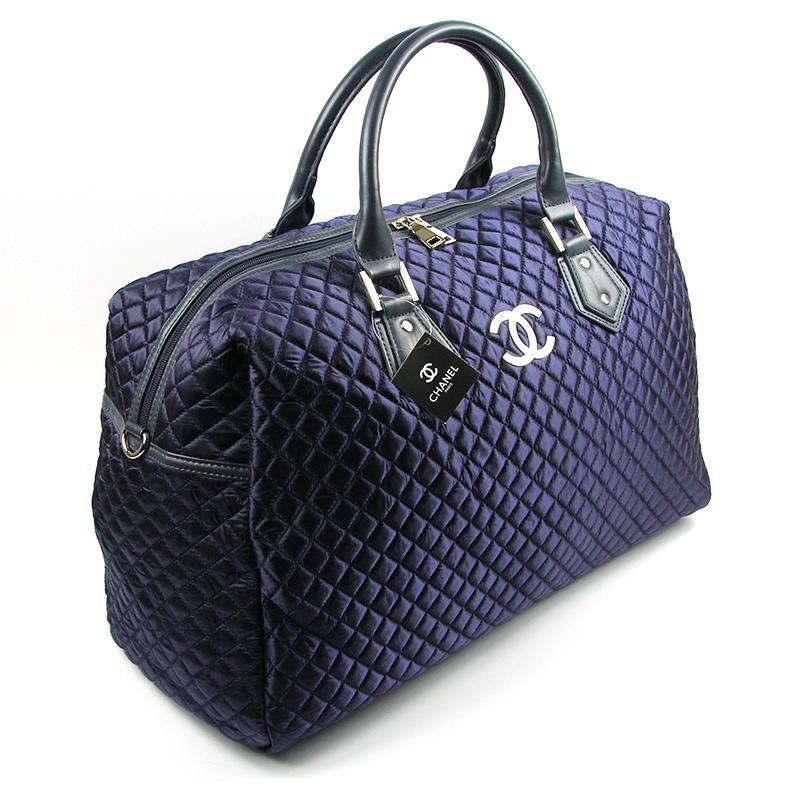 2ffc5195eb71 Синяя дорожная сумка женская большая стеганая саквояж на плечо1 фото ...