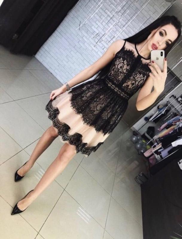 bef9b7235b7 Модные платья с кружевом гипюр сетка вечернее короткое утонченное роскошное  нарядное!1 фото ...