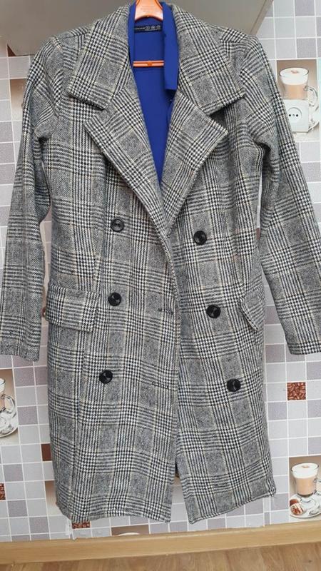 Супер стильное пальто в клетку пальто-пиджак серое клетка тренд1 ... 209cc4faea315