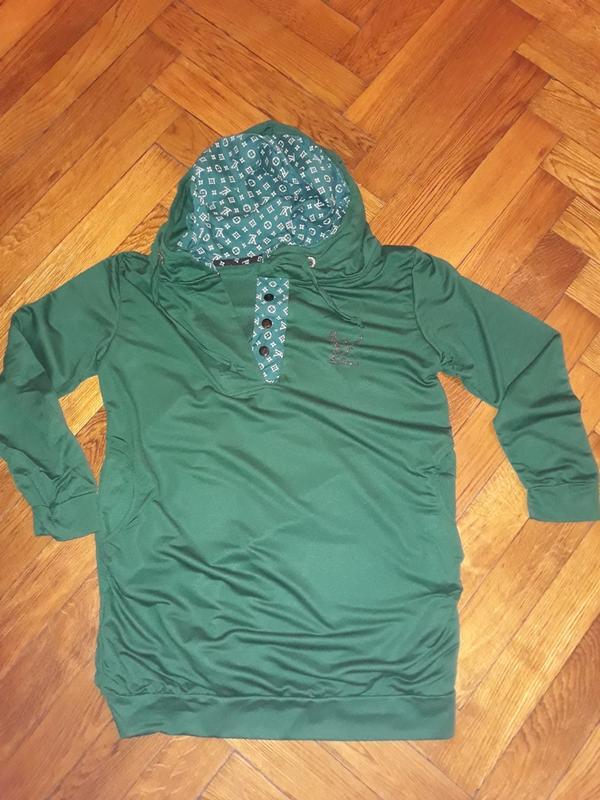 8b4448b726a ... Туника с капюшоном зеленая4 фото ...