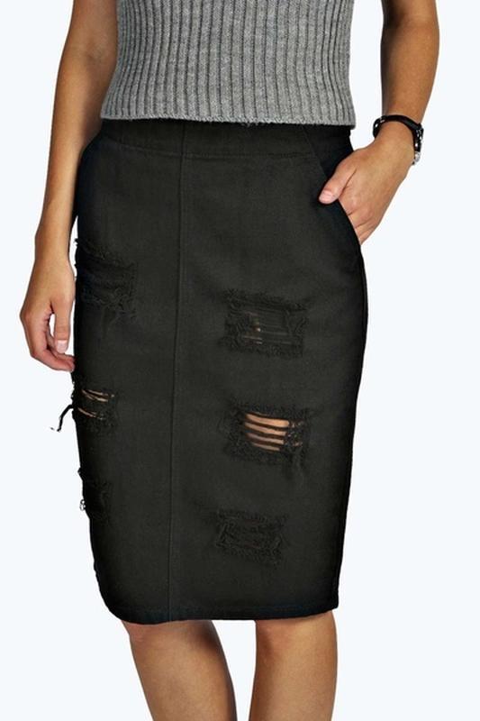 301d46fd96f Черная джинсовая юбка boohoo1 фото ...