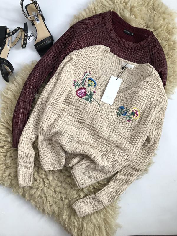 вязаный свитер с вышивкой оверсайз цена 350 грн 19227926