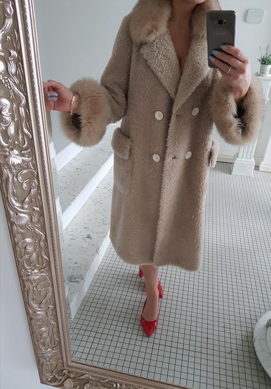Шуба пальто натуральная овчина 100% мех лиса бежевого цвета зима1 ... 1e81dac6ebf4c