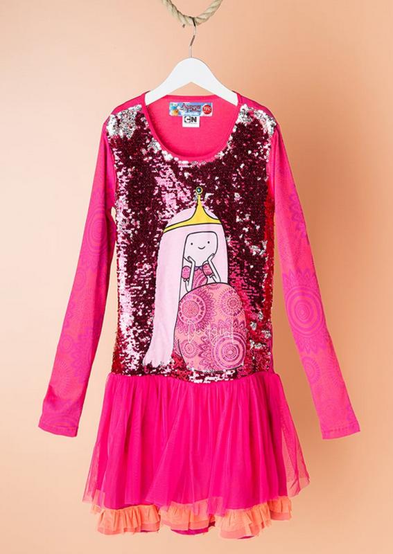 09f1967638b Яркое платье с двусторонними пайетками desigual adventure time принцесса  бубль гум 146 1521 фото ...