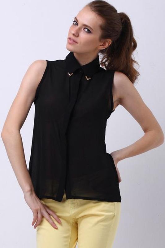 6c35e40390c4 Трендовая шифоновая чёрная рубашка безрукавка amisu с металлическими  уголками на воротнике1 фото ...