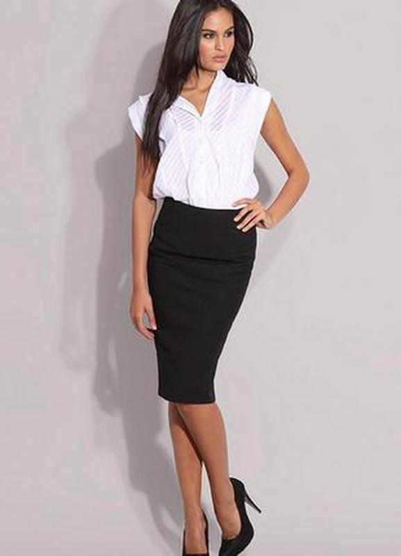 0dd018bba51 Классическая черная юбка-карандаш с высокой талией1 фото ...