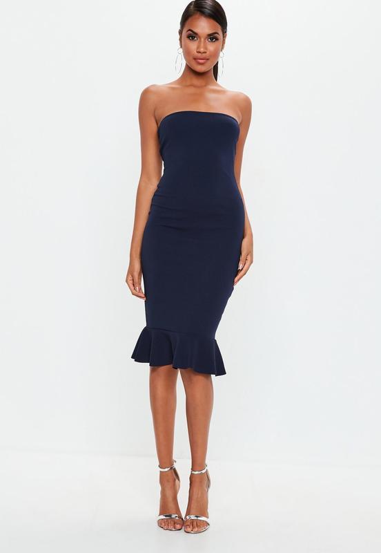 3c94ee956d3 Missguided asos темно синие миди платье бюстье по фигуре ASOS