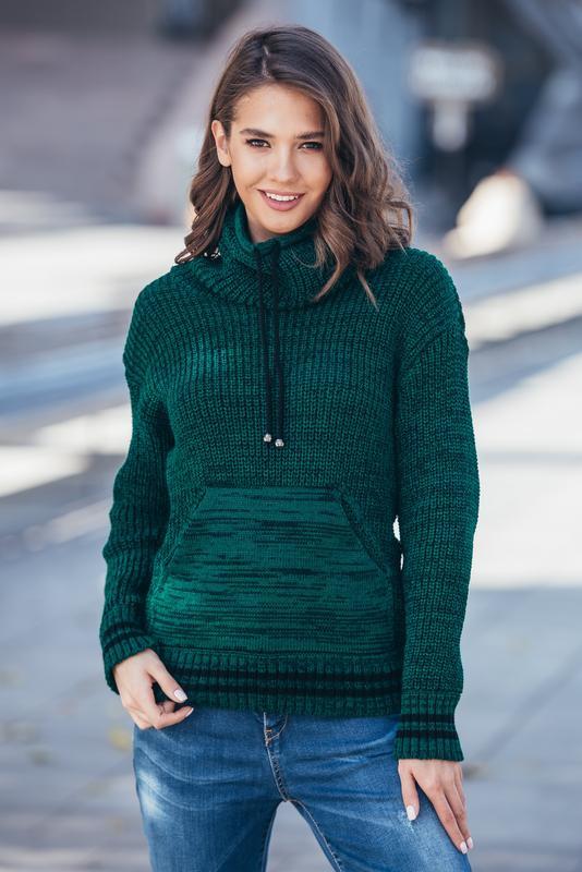 671698539af 5 цветов теплый свитер вязаный свитер зеленый с карманом кенгуру оверсайз  44-50р1 ...
