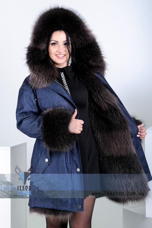 f72cc898ab7 Женская куртка - парка с капюшоном из натурального меха песца1 фото ...