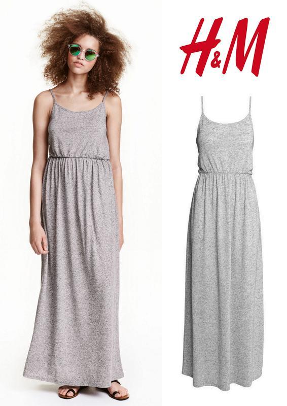 dd0f00b7892 Серое трикотажное длинное платье майка сарафан макси с льняном (лен) от h m  divided1 фото ...