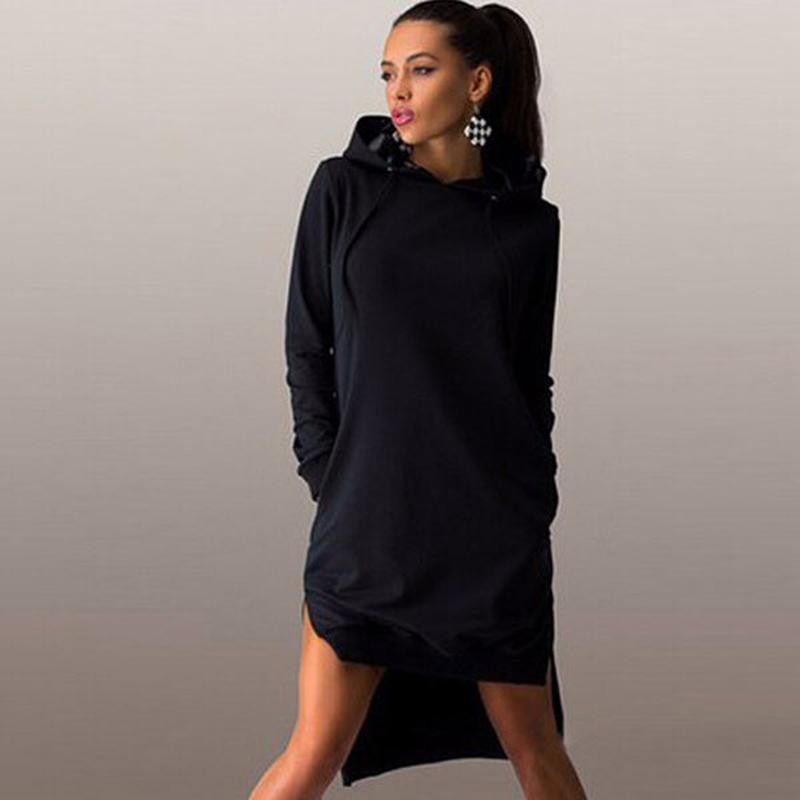 44d0ce22521 Черное спортивное платье миди худи с капюшоном и карманами под кеды разрезы  мантия1 фото ...