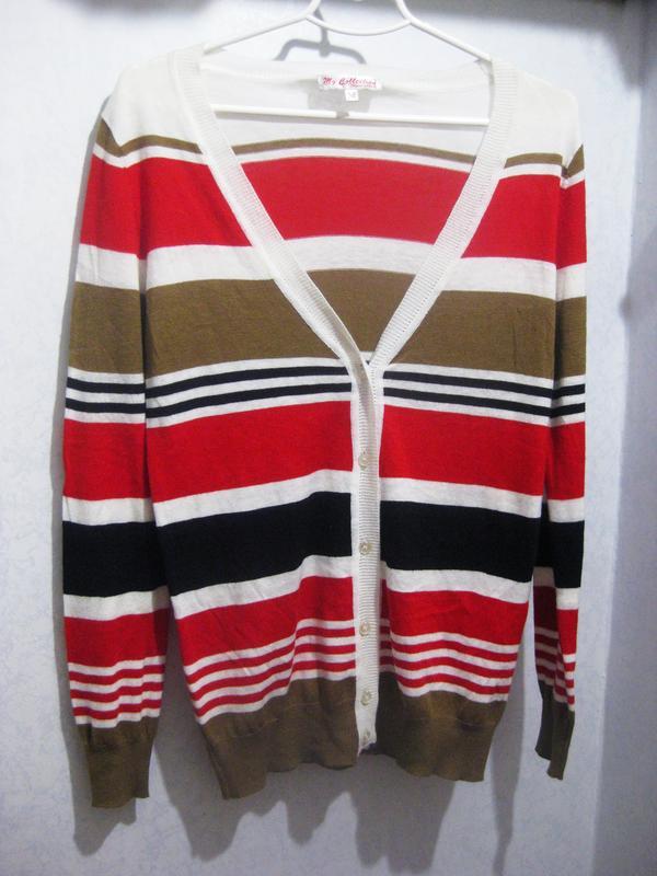 09ac47c47cb Джемпер пуловер кофта my collection paris в полоску красный коричневый  коттон акрил1 ...