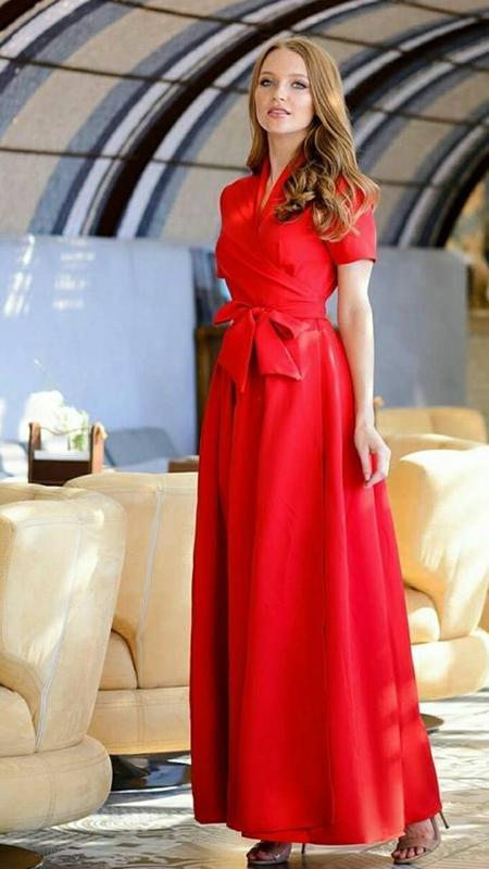 46158094379 Красное платье-халат в пол1 ...