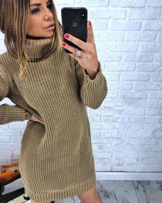 52ae8dd4a5e Шикарное новое бежевое теплое вязаное платье-свитер xs