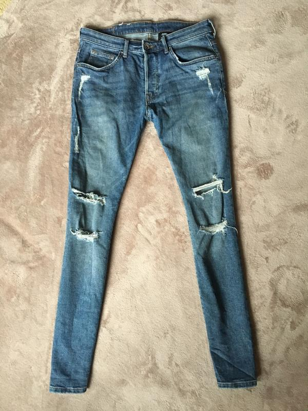 Брендовые шикарные джинсы со стразами и дырками голубые женские украина