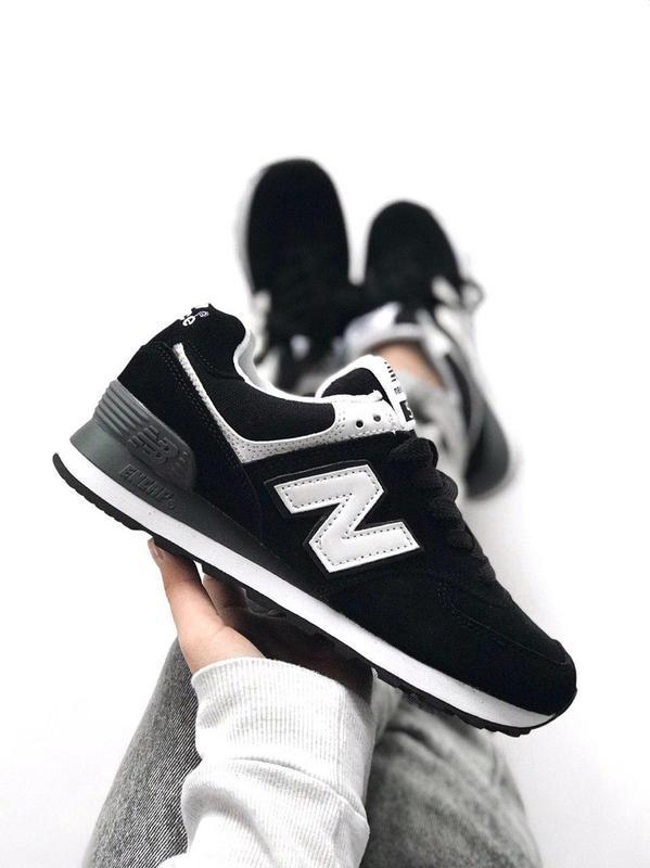 Шикарные женские кроссовки new balance 574 black  white (весна  лето   осень) ... 47756c8a9c5b4