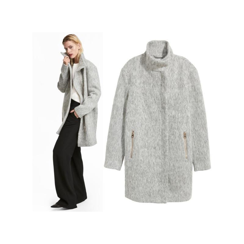 a109fefb540 Шерстяное теплое серое пальто на молнии h m 40.m1 фото ...