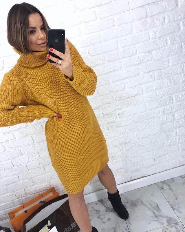 1b88524a849 Шикарное новое горчичное теплое вязаное платье-свитер xs