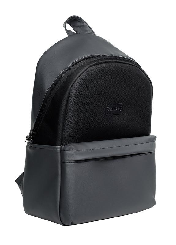 c778c01ce352 Вместительный мужской рюкзак чёрно-графитовый с экокожи для ноутбука,  путешествий1 фото ...