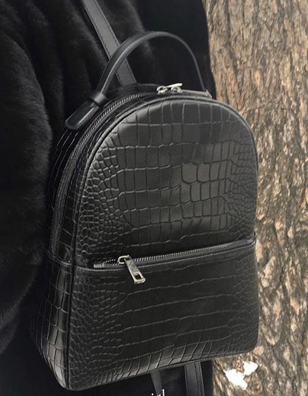 dde607ca99a6 Рюкзак итальянский кожаный натуральная кожа рептилия чёрный шкіряний шкіра  чорний1 ...