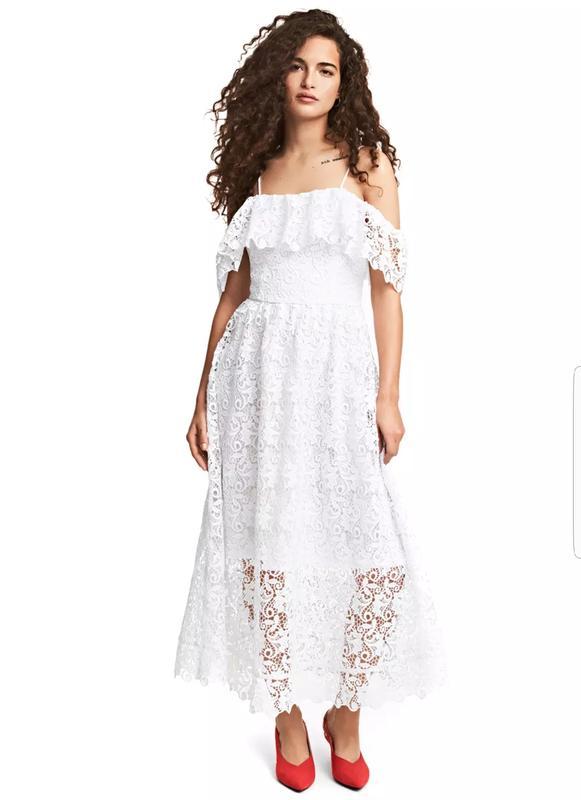 533ca79578f4687 Шикарное вечернее кружевное платье миди h&m. H&M, цена - 1370 грн ...