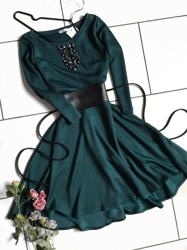 bc81a70022d Зелёное платье солнце клёш