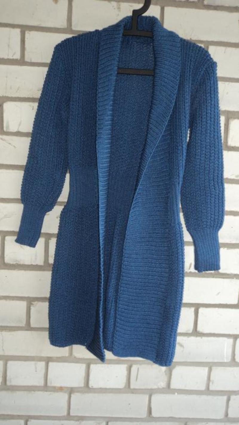 92b4ccd4b301 Вязаный пальто-кардиган синего цвета за 389 грн.