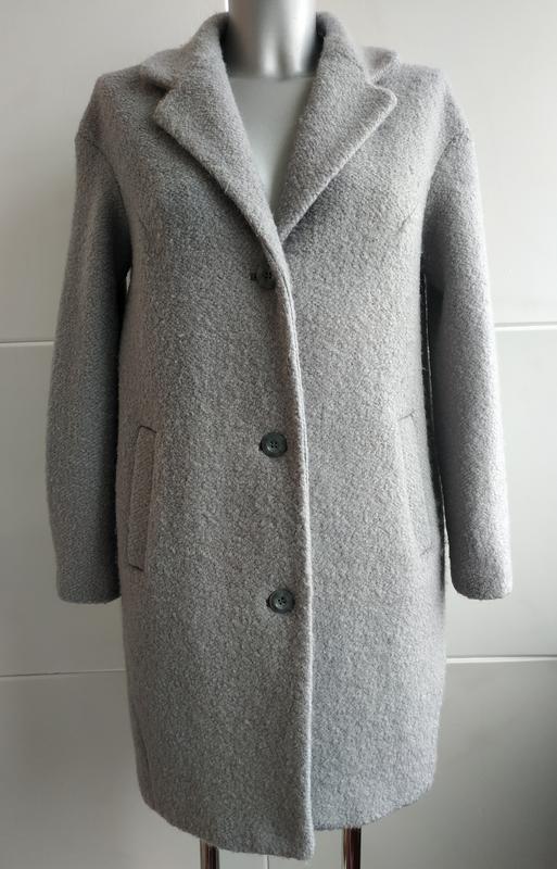 c2ce0cf7136 Стильное шерстяное пальто-кокон h m с боковыми карманами базового серого  цвета1 ...