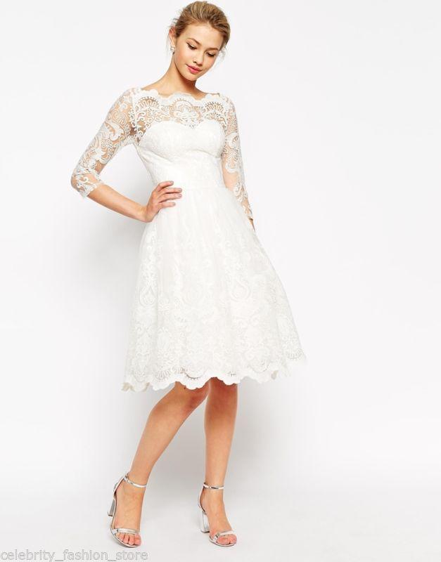 e1b8ea19e01 Свадебное платье миди короткое коктейльное uk12 chi chi london1 фото ...
