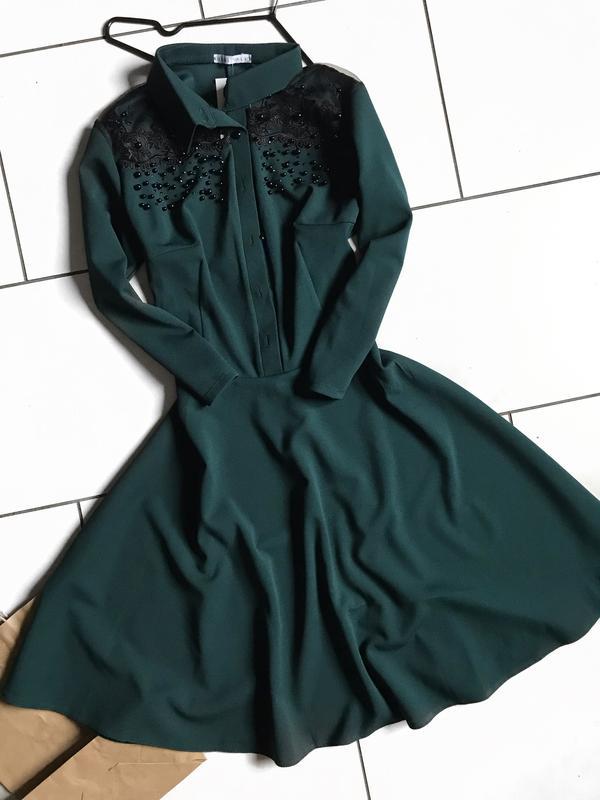 38276b8e73b Зелёное платье солнце клёш с камнями и вышивкой