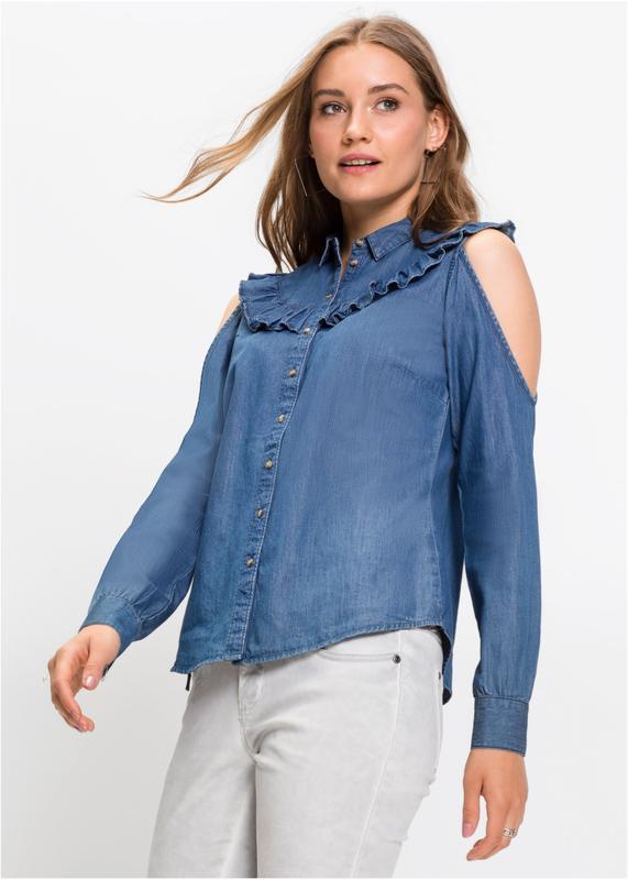 7addd946ef8 Актуальная джинсовая блузка с рюшем и вырезами Rainbow Collection ...