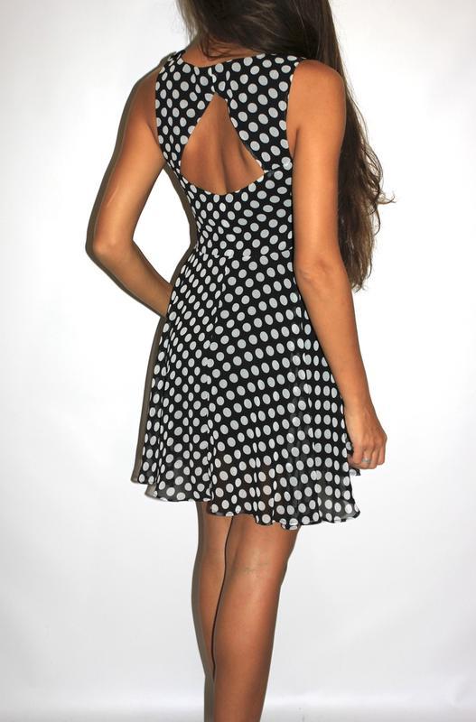 524dbb2e0d1 Черное шифоновое платье в горошек