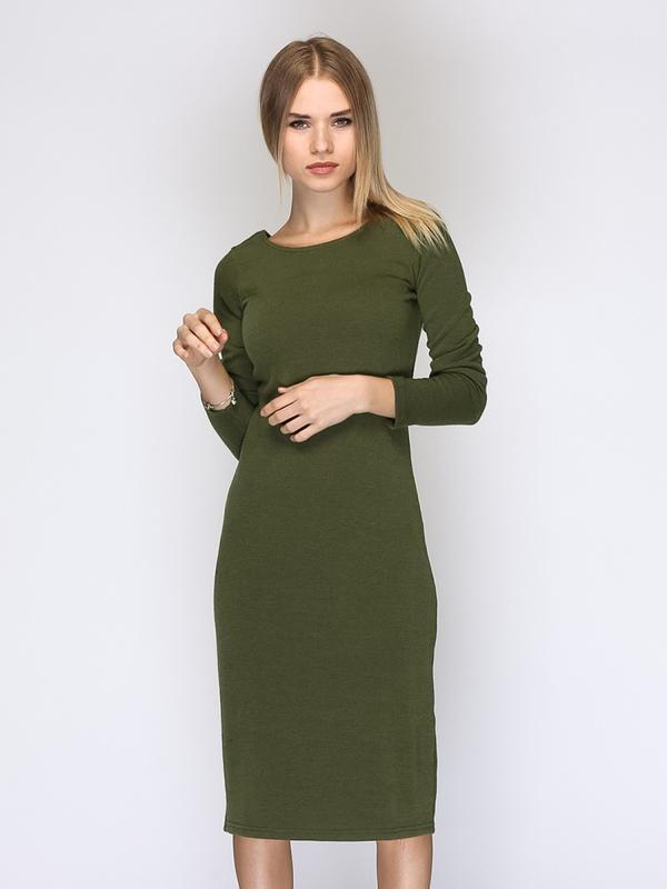 6265dea9544 Платье по фигуре карандаш футляр хаки миллитари трикотажное zara1 ...