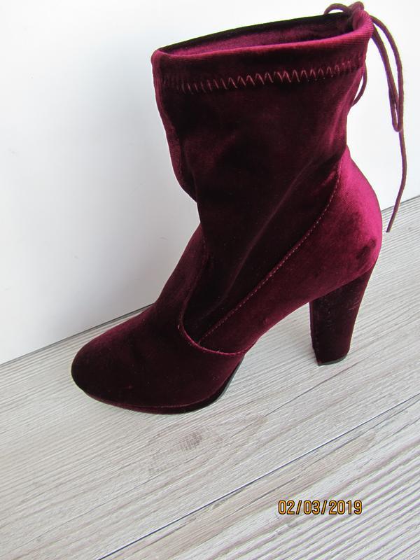 5fc961c8a Велюровые сапоги на удобном каблуке цвета марсал Primark, цена - 290 ...