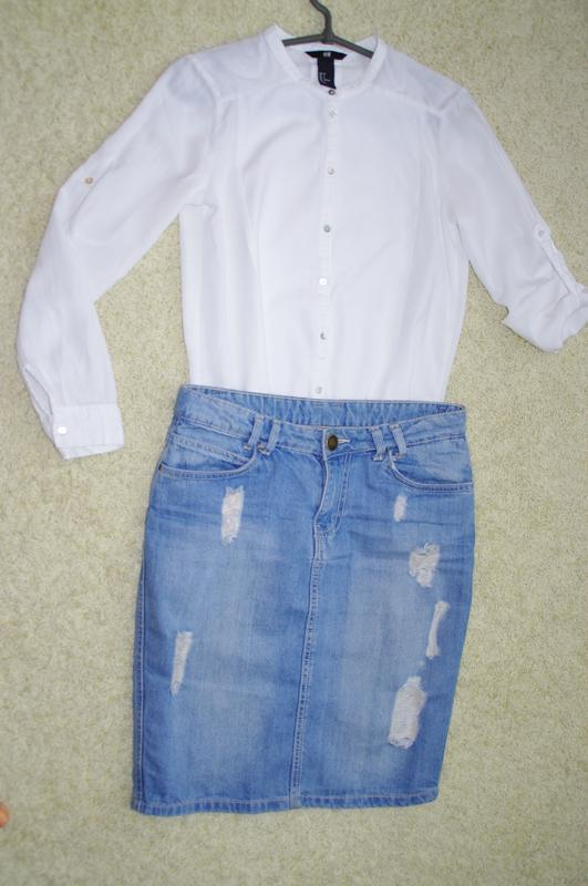 Джинсовая потертая юбка