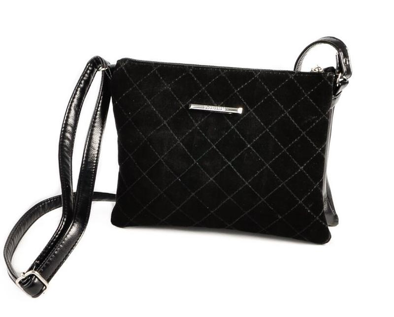 ca9e457e7736 Чёрная женская маленькая сумочка клатч через плечо из натуральной замши за  359 грн.