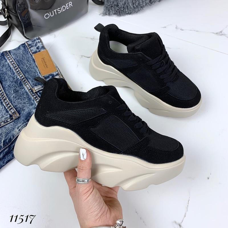 f36ff5a3 ... Крутые чёрные кроссовки на высокой платформе,чёрные кроссовки на высокой  подошве.7 фото ...