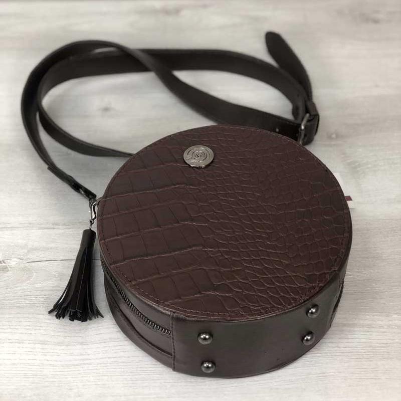 94b83fef803b 3 цвета! стильная женская круглая сумка коричневый крокодил круглый клатч  кругляшка1 фото ...
