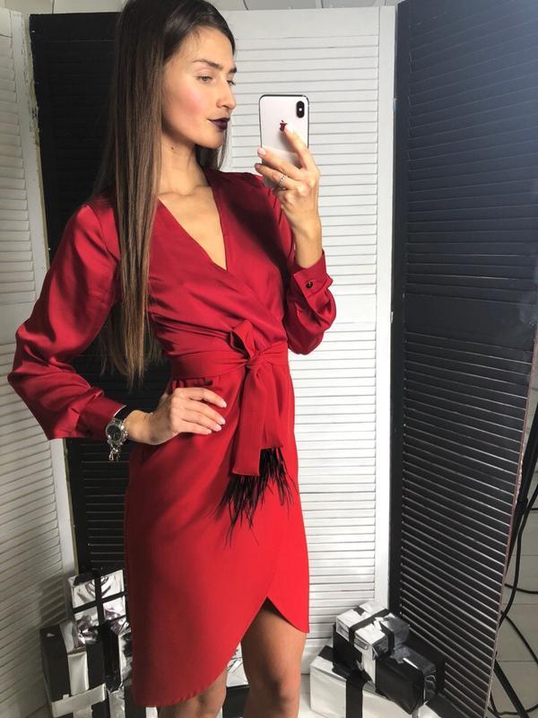 a80957f01a27b3c Красивое оригинальное красное платье шелк+ костюмка, пояс с перьями1 фото  ...