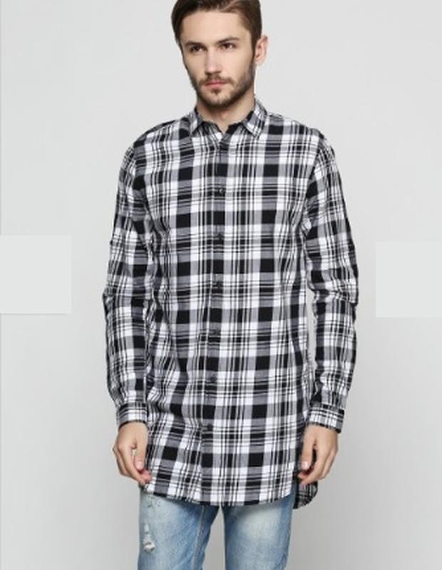 dc46c8dbb6d Мужская удлиненная рубашка zara в клетку чёрно-белая распродажа остатков!1  фото ...