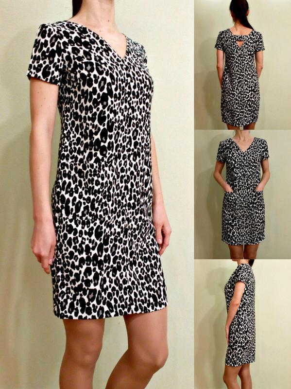 f85b32cdcdd Красивейшее актуальное леопардовое платье прямого кроя с кармашками1 фото  ...