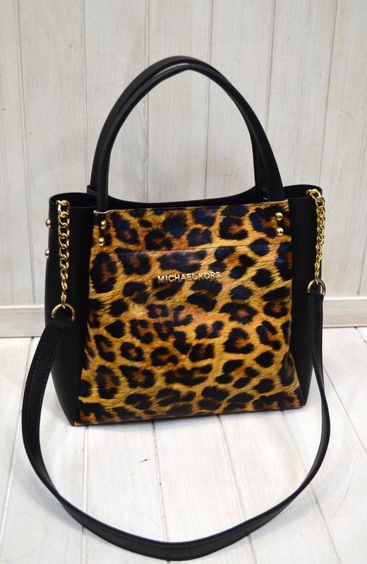 3089036bd6a6 Женская сумка на весну черного цвета леопардовый принт с ручкой на цепочке1  ...