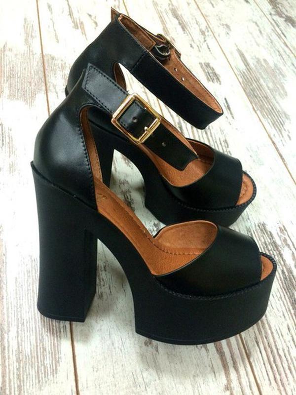 efee09a6a Женские босоножки на высоком толстом каблуке из натуральной кожи черного  цвета рр 36--401 ...