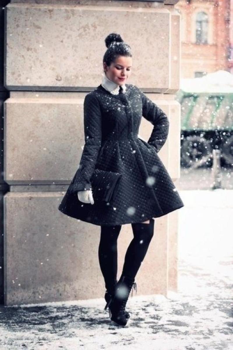 Стеганое пальто с юбкой