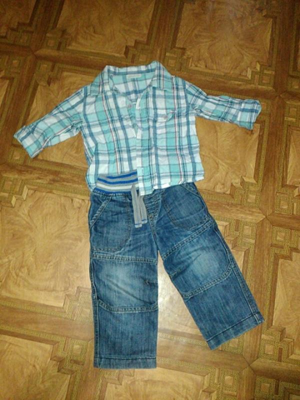 6fb7d3e99a4 Джинсы рубашка - весенний комплект для модника 12-18 месяцев1 ...