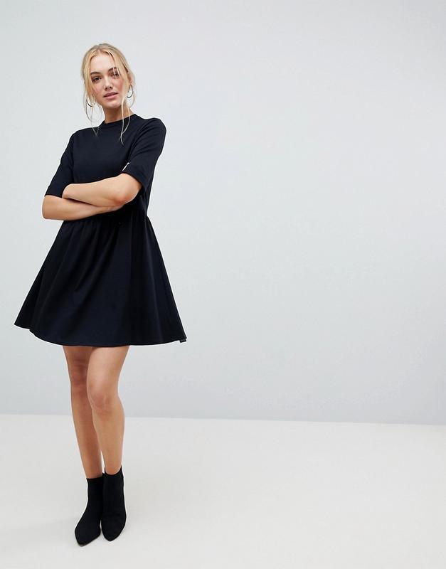 5adac48e2ec Хлопковое платье черного цвета в стиле бэби долл asos ASOS